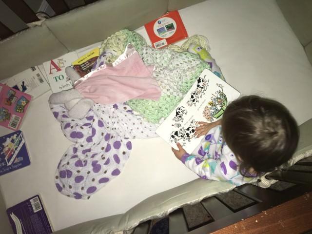 toddler books in crib