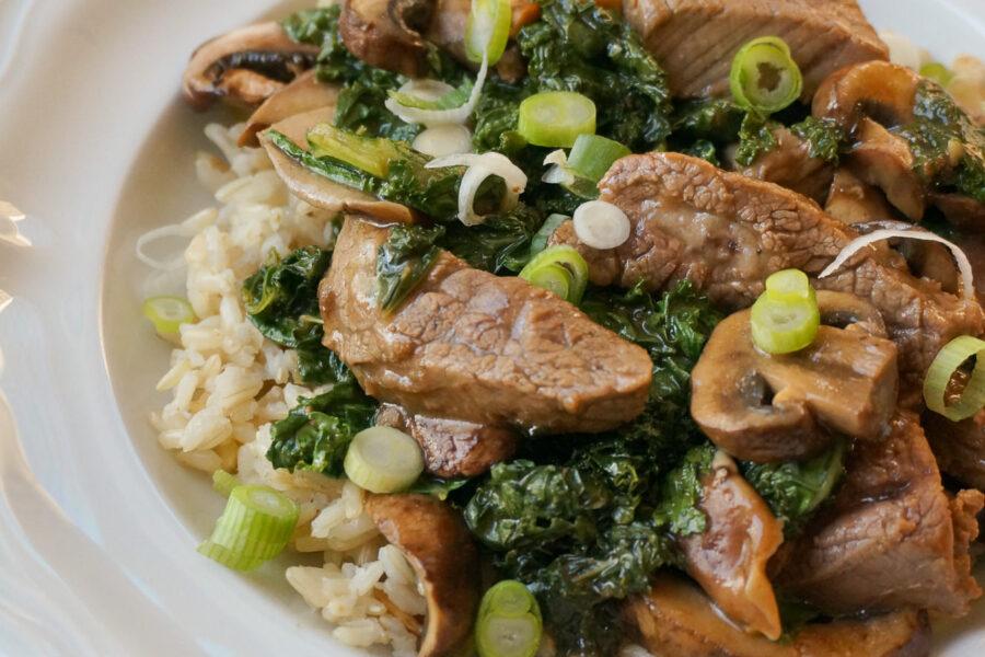 beef mushroom and kale stirfry