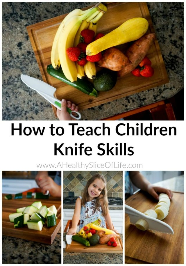teaching kids to use a knife in the kitchen