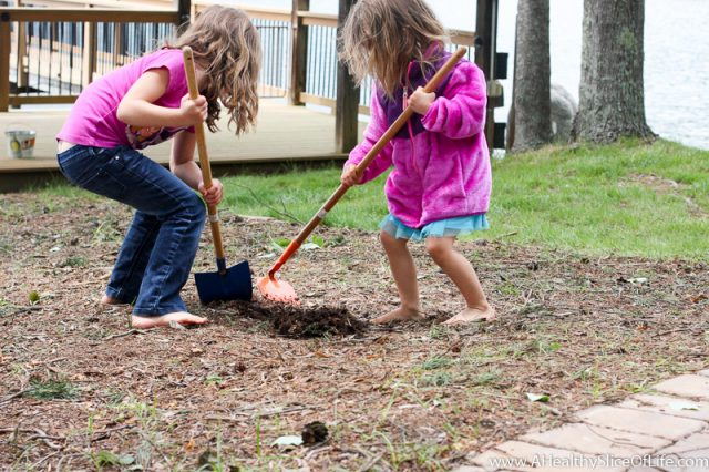 girls digging in dirt
