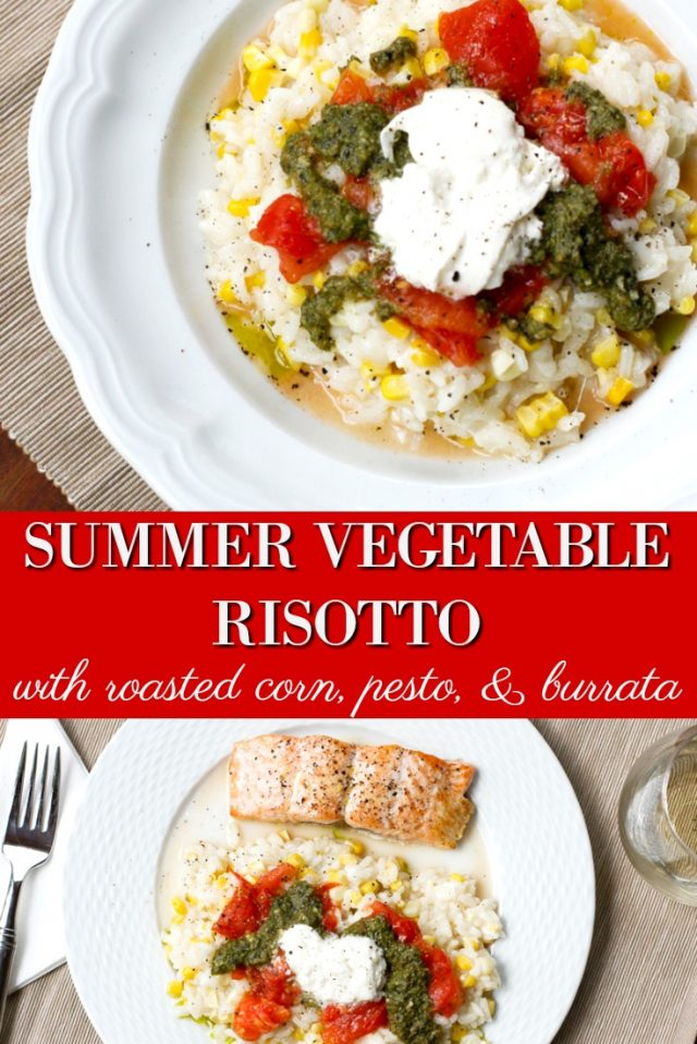 Summer Vegetables Risotto Recipe with roasted corn and burrata