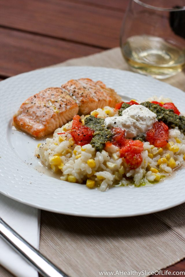 summer corn risotto with salmon