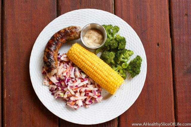 kohlrabi slaw and brats with summer corn
