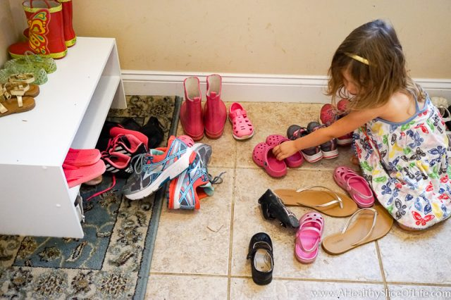 organizing shoes chore