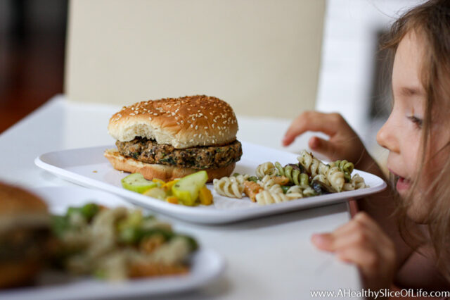 toddler veggie burger meal