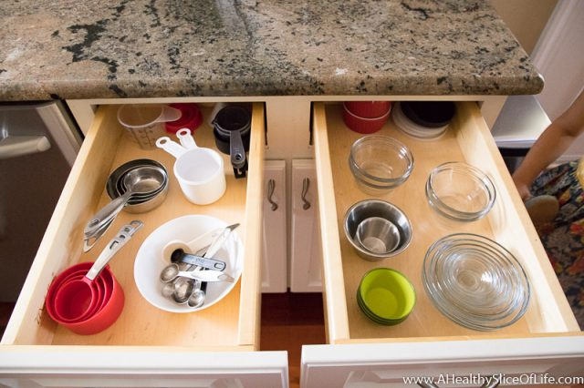 measuring cups in drawers