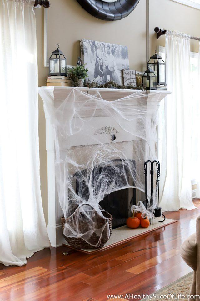 spider web fireplace halloween