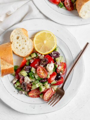 Greek salad and bread
