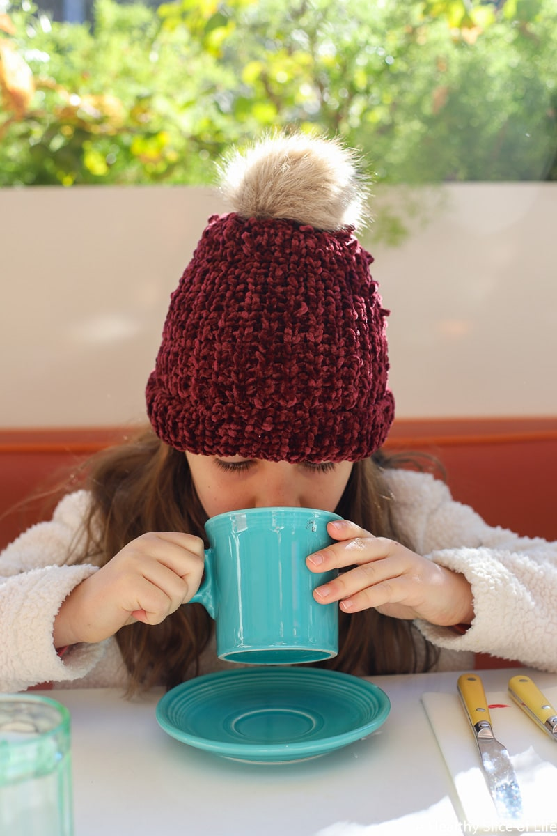 girl drinking hot cocoa
