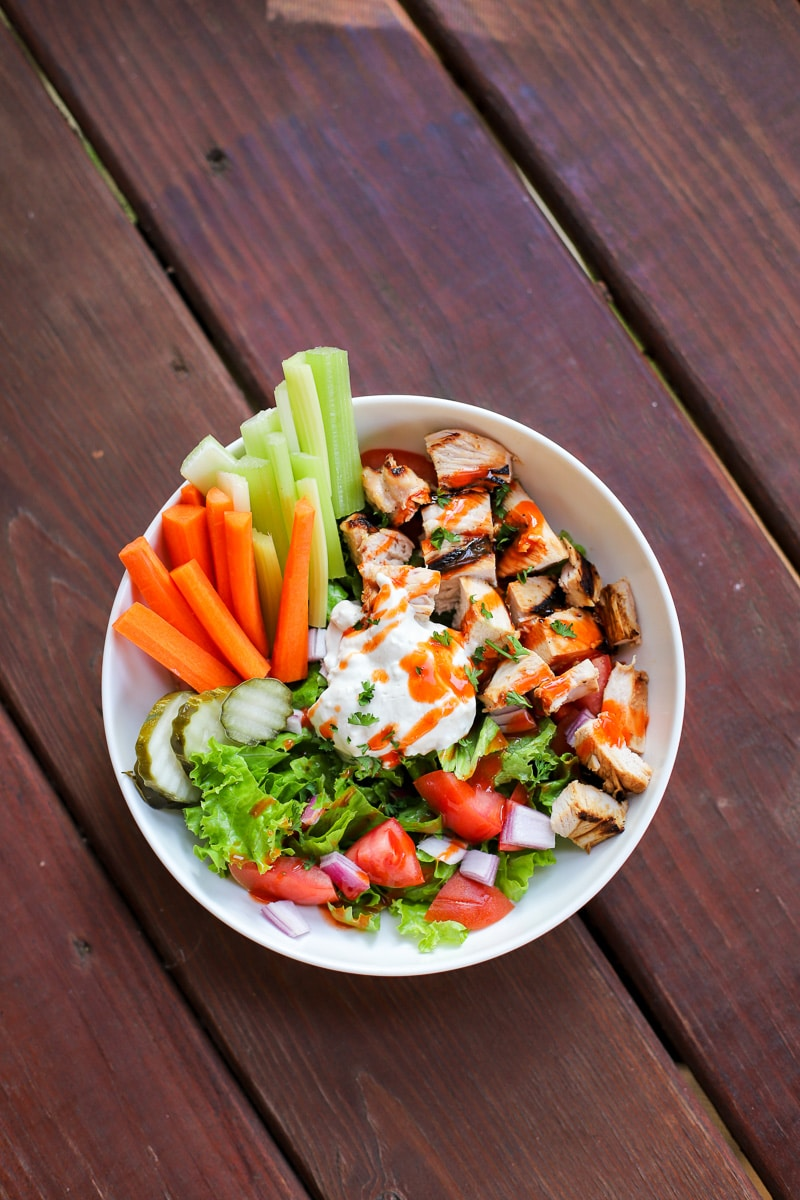 A Healthy Slice of Life - dinner - Buffalo Chicken Salad with homemade blue cheese
