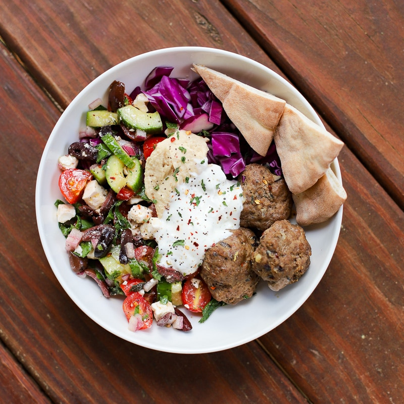 A Healthy Slice of Life - dinner - Greek meatball bowl