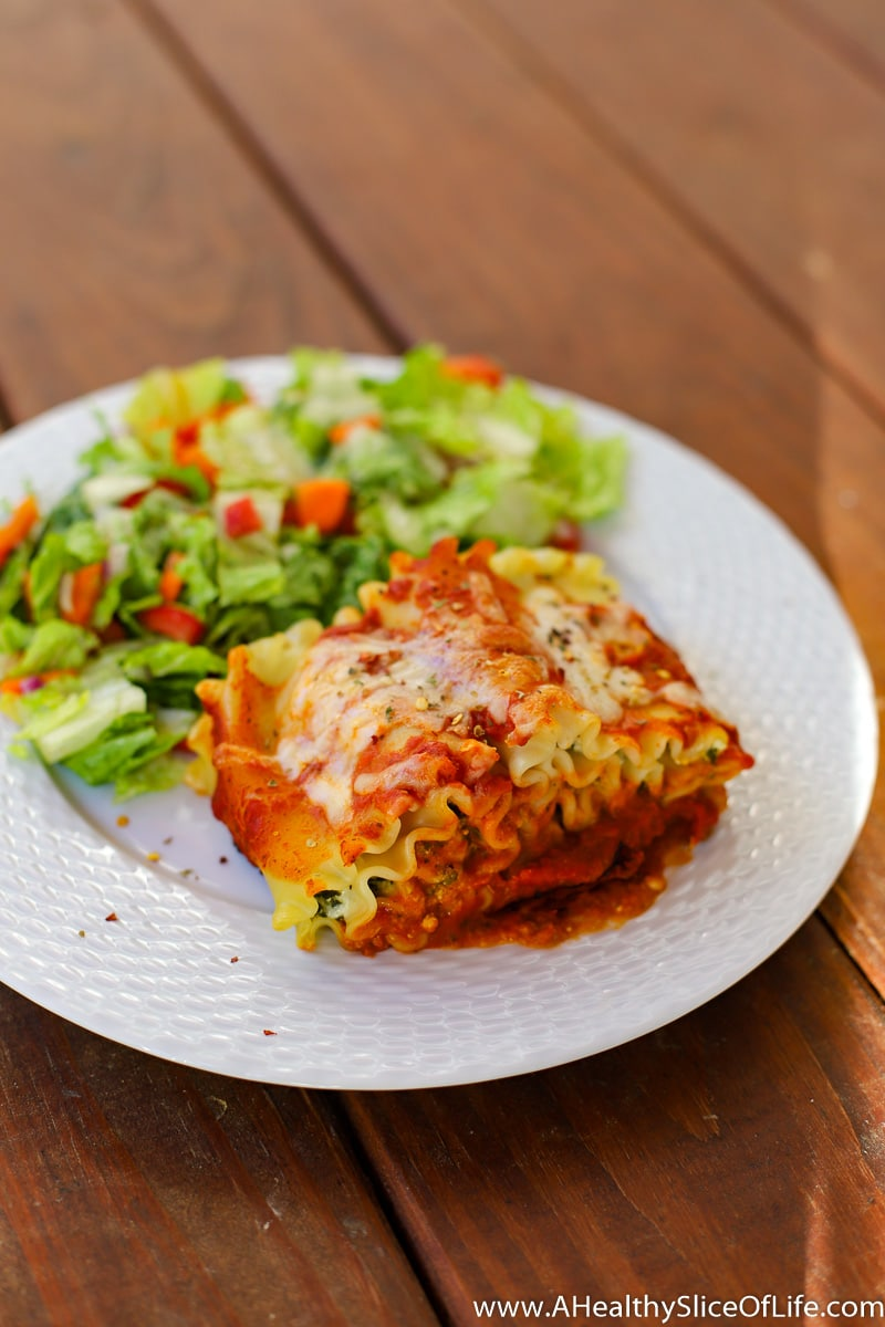 A Healthy Slice of Life - dinner - lasagna roll ups