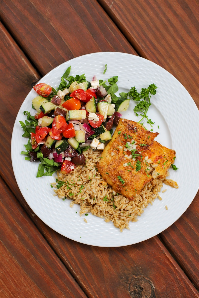 A Healthy Slice of Life - dinner - mediterranean baked cod with greek salad