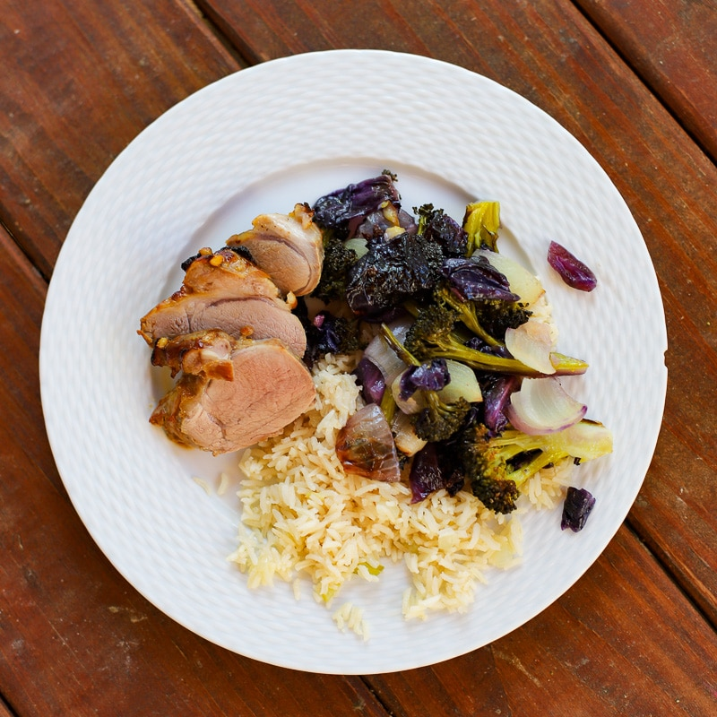 A Healthy Slice of Life - dinner - pork tenderloin with roasted cabbage